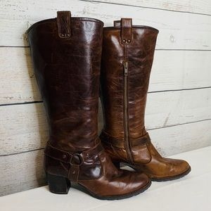 BORN Susanne Brown Leather Harness Tall Boots